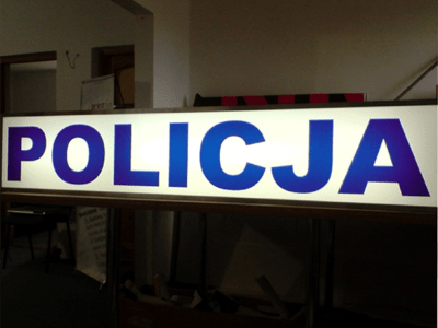 Szyld policji w formie baneru Białystok