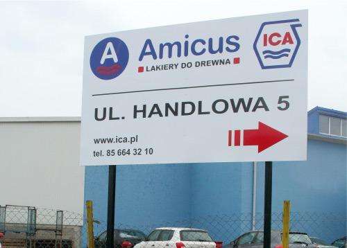 Tablica reklamowa białostockiej firmy Amicus